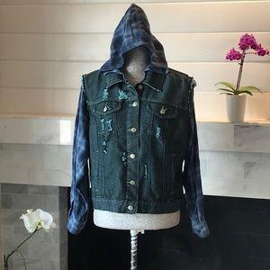 LF Furst of A Kind Denim & Flannel Jacket M EUC